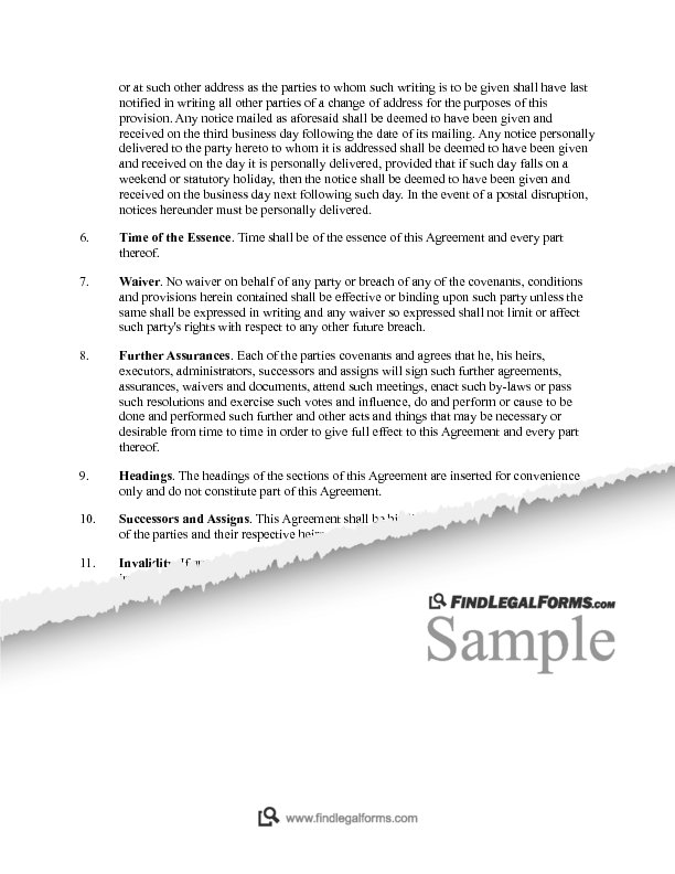 Voting Trust Agreement 3rd Party Determines Vote Canada Sample