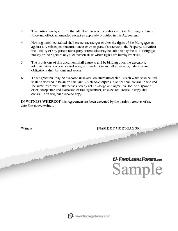 Mortgage Amending Agreement Canada Sample